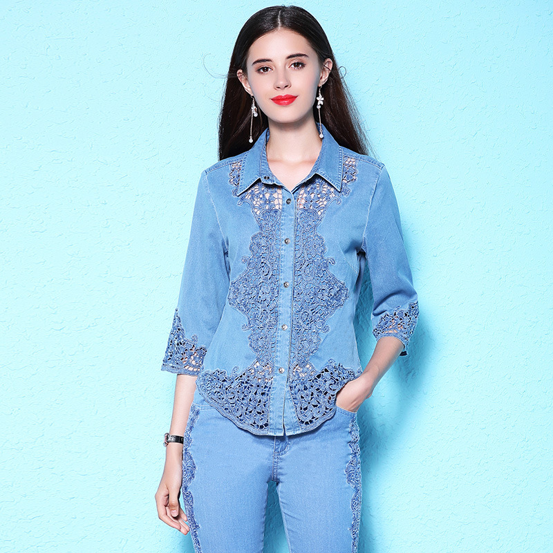 Women's 2018 summer new lace shirt plus size women's denim shirt women's short sleeved thin blouse NW18B2620