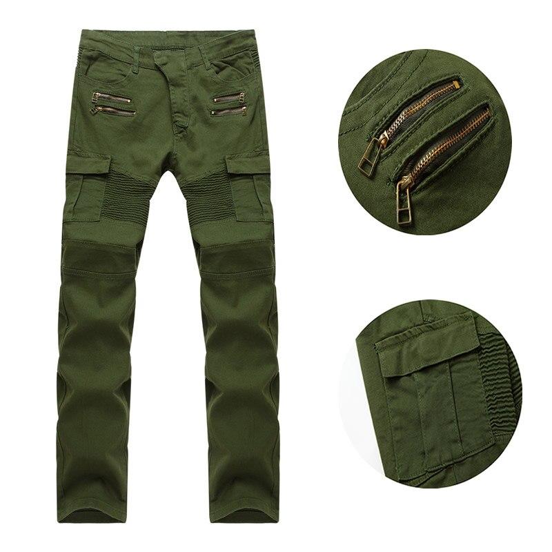 2017 Trend Folds Zipper Stretch Jeans Feet Men's Cargo Pants Army Green Casual Pants Cotton Trousers For Men Pants Trousers tommy hilfiger new dark moss green women s 6 ankle zipper cargo pants $89 408