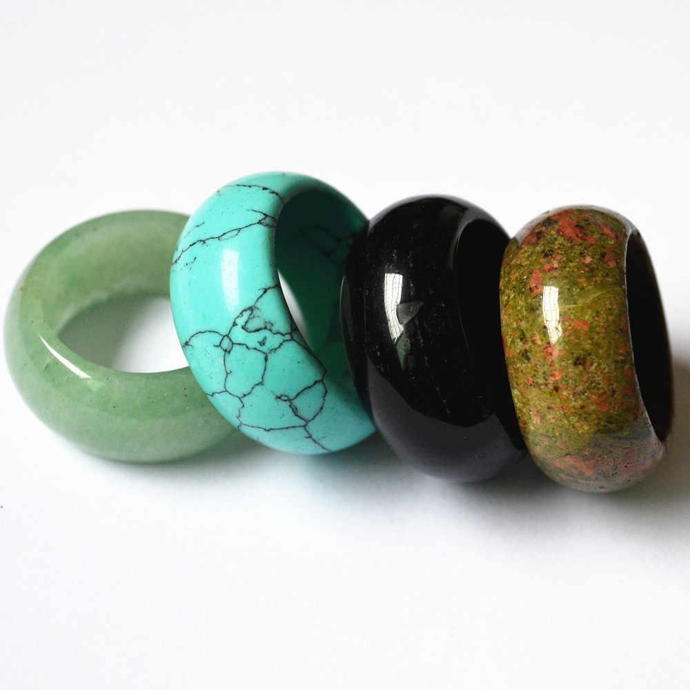 10 шт. цвета смешивания натуральный камень Гладкий Многоцветный Опал Мода палец кольца украшения для женщин мужчин мм 12 мм 17 #18 #20 # оптовая продажа 22