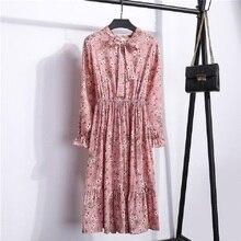 Autumn Chiffon Shirt Dresses Office Plaid Polka Dot Vintage Women Dress Elegant Spring Casual Midi Floral Female