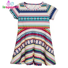 d88e0f2769eb04 New Africa Style Kids Dresses Colorful Striped Printed Vestidos For 3-9Y  Children Girl Short Sleeve Casual Clothes