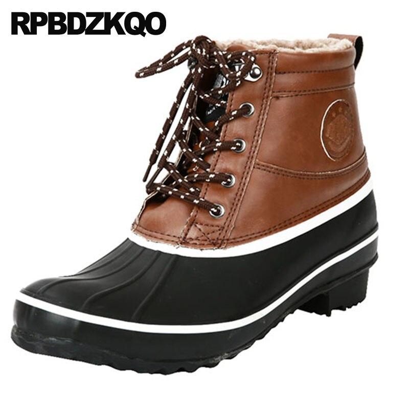 7b50a238291 D água À Mais Calçado Confortável Amarrar Casual Topo Sapatos Tornozelo  Pele De Castanho Alto Preto ...