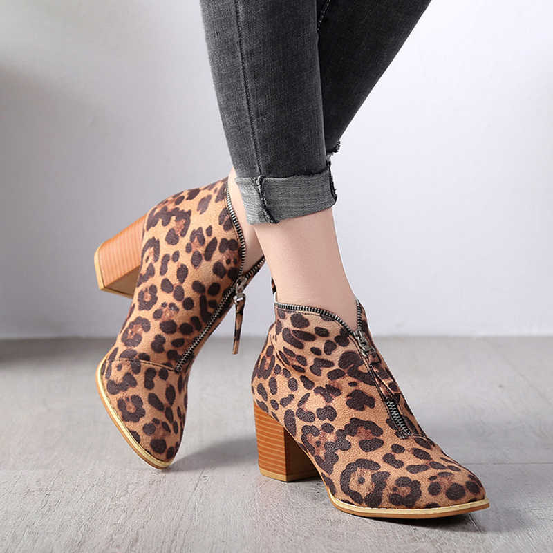 099ddd3da97c ... New Hot Women Autumn Winter Solid Ankle Boots Pointed Toe Flock Zipper  Med Square Heel Leopard ...