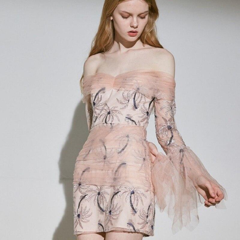 Уличный шик, милое Сетчатое мини платье с вышивкой кокосовой пальмы, женское сексуальное розовое платье с вырезом лодочкой, летние вечерние платья 2019 - 2