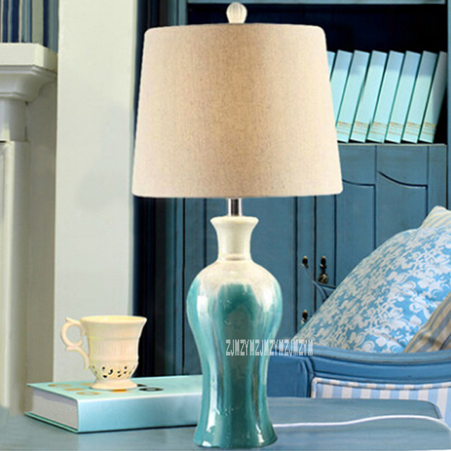 New Df80799 Mediterranean Blue Retro Living Room Bedroom Study Lamp Bedside Creative Ceramics Table