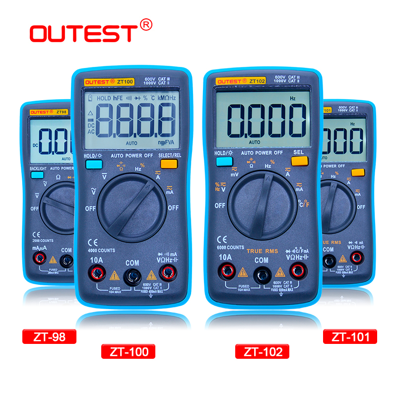 OUTEST Digital Multimeter 6000 Counts Backlight AC/DC Ammeter Voltmeter Ohm Portable Meter Voltage Meter купить недорого в Москве