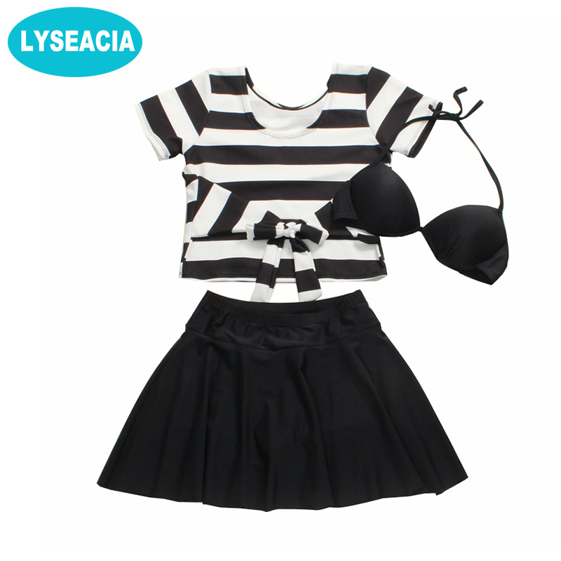 LYSEACIA Black Bikinis Set 3IN 1 Swimsuit Plus Size Women High Waist Beach Ruffles Skirt Striped Short Sleeve Crop Tops Swimwear все цены