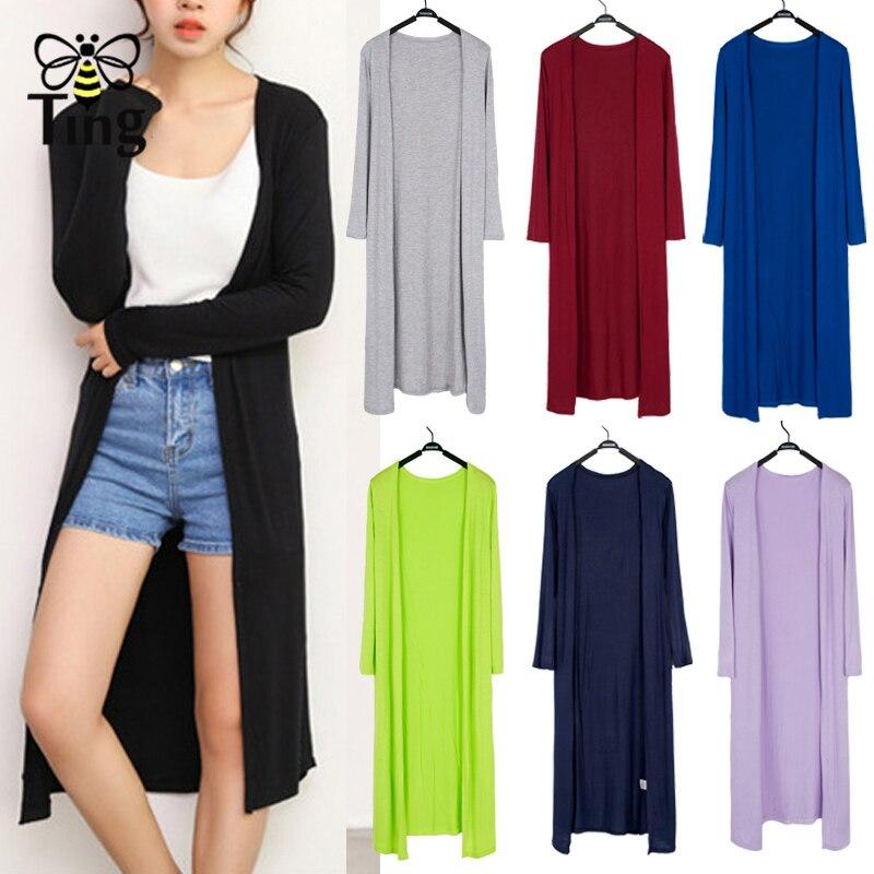Tingfly Women Summer Thin Kimono Cardigan Long Sleeve Loose Hem Long Cardigan Women Outerwear Free Size Black/Gray 9 Colors