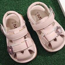 Обувь для маленьких девочек с пищалкой; сандалии ручной работы с цветами для детей от 1 года до 3 лет; сезон лето; nina sapatos; Забавная детская обувь; цвет белый, розовый; сердце