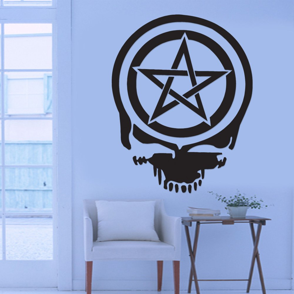 Cool Graphic Pentacle Pentagram Wiccan Pagan Death Skull Wall Sticker Vinyl Decal Art Home Office Room Mural Decor Vehicle