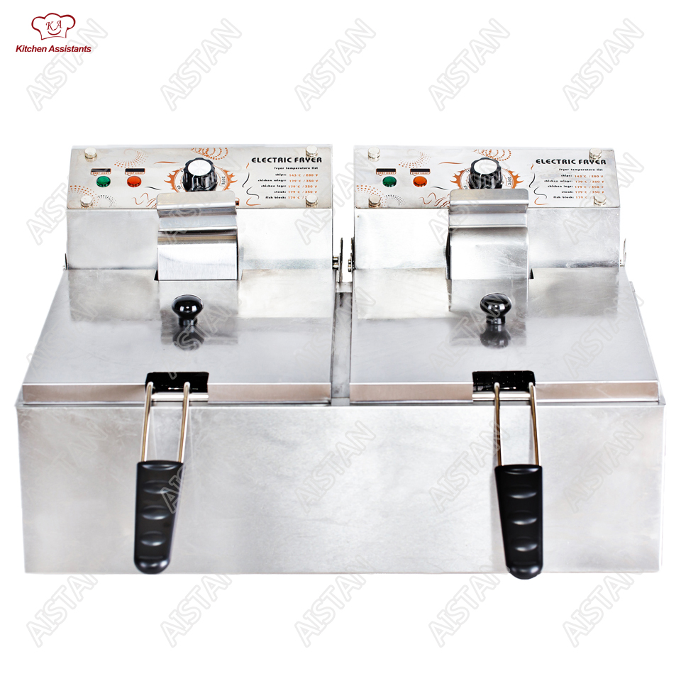 HY81 HY82 Electric Commerical Deep Oil Fryer Stainless Steel Chicken Chips Fish Potato Fried High Power 6 Liters 12 Liters hy81 hy82 6l 12l stainless steel electric deep oil fryer potato chip fryer