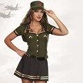 Mulheres Conjuntos de Saia 2016 Das Mulheres Do Partido Dramatização Customes Uniformes Piloto Trajes de Halloween Cosplay Exército Verde Tops Mini Saia Chapéus