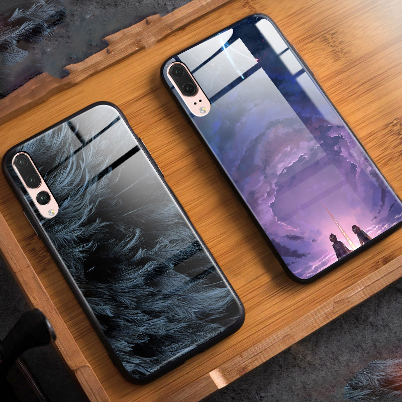 Tempered Glass Cases for Huawei P20 P20 Pro Case Stars Sky Back Cover Hard Case for Huawei P20pro P 20Pro P 20 Pro Capa Bumper