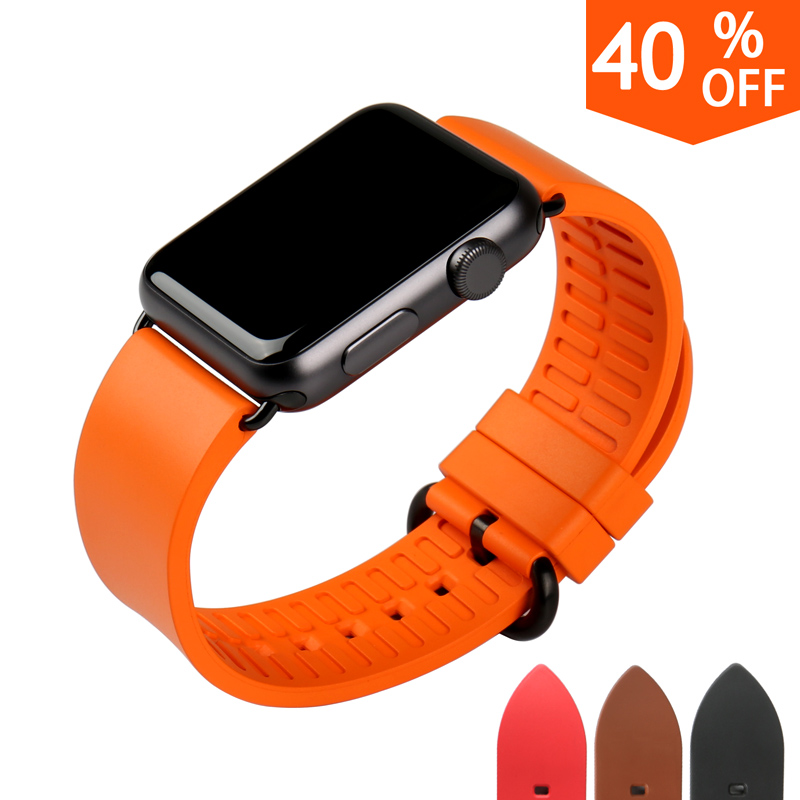 MAIKES New watch accessories orange rubber watchbands bracelet for sports apple watch band 42mm 38mm men series 2 & 1 iwatch