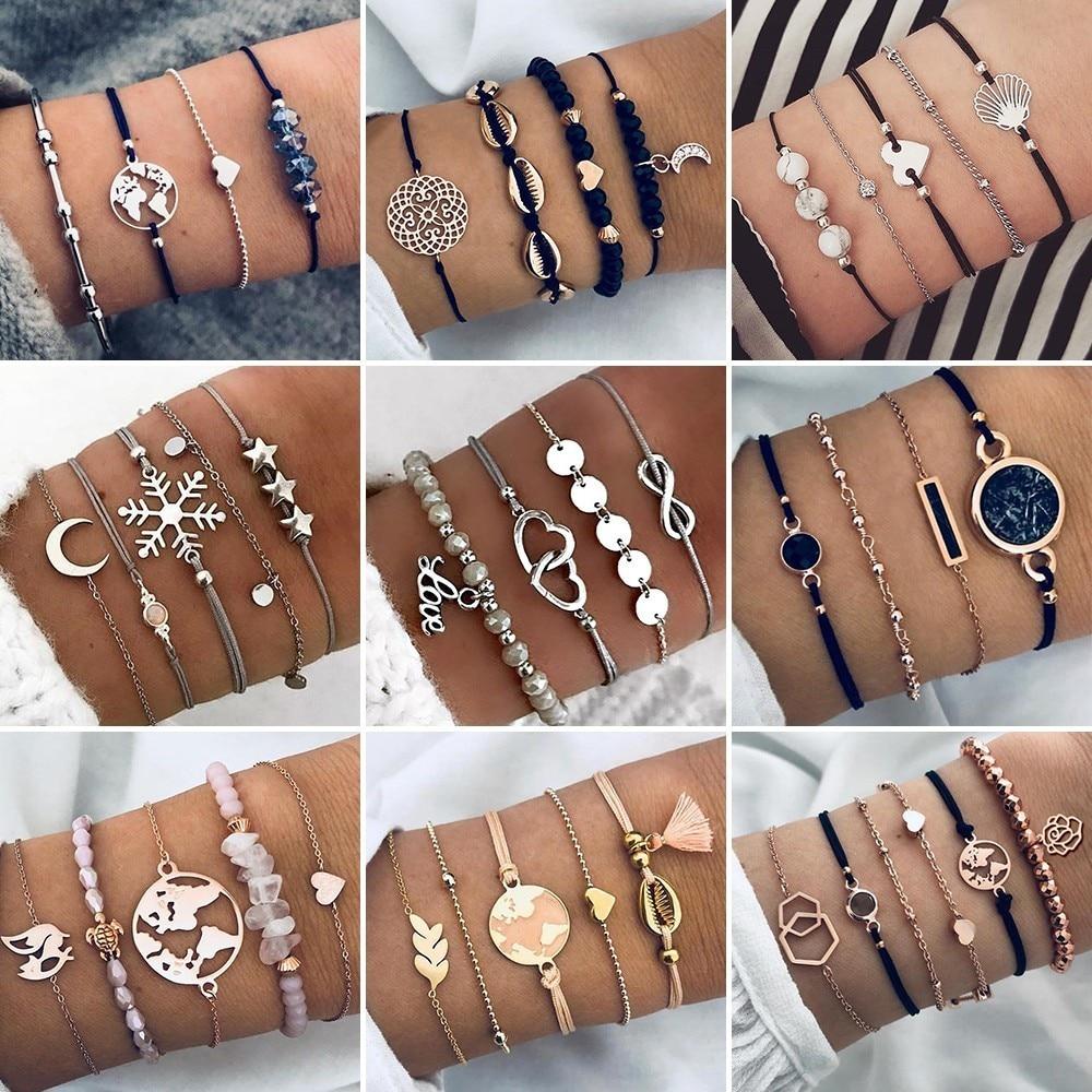 2019 artystyczne bransoletki i zestaw bransoletek Vintage Bead Boho Charm bransoletka dla kobiet biżuteria akcesoria Pulseras Mujer Bijoux Femme 1