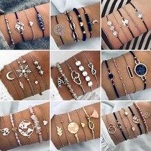 Богемные браслеты и Набор браслетов винтажная бусина подвеска Бохо Браслет для женщин ювелирные аксессуары Pulseras Mujer Bijoux Femme