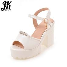 J & K Taille 32-42 À Talons Hauts Sandales Doux Peep Toe Chaussures D'été de Femmes Épais Talons Plate-Forme Sandales cristal Perle Solide Conception Chaussures