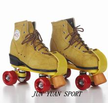 High qaulity!Roller Skates Genuine Leather With Led Double Line Skates Adult 4 Wheels Two line Roller Skating Shoes