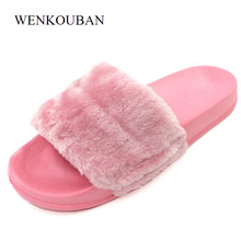 303f491d9 Fluffy Women Winter Slippers Female Plush Slippers Fur Slides Ladies Shoes  Flat Sandals Black Chaussure Femme Fuzzy Flip Flops