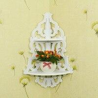 2016 New Arrival Vintage Decor Floral White Wood Wall Corner Rack Storage Shelf Corner Rack