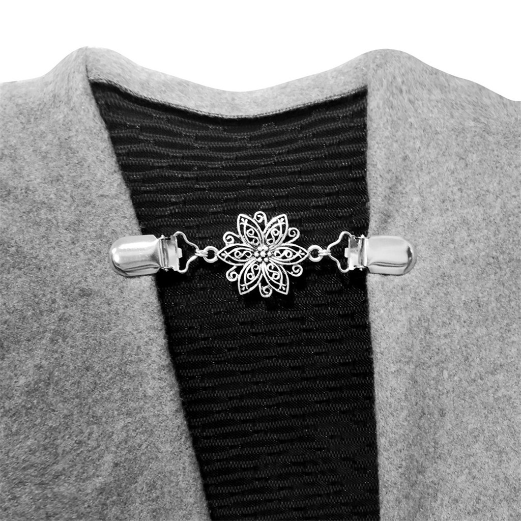 4Pcs Women Cardigan Sweater Blouse Shawl Clips Shirt Collar Retro Duck Clip Clasps Winter Scarf Clasps Charm Accessories