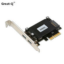 Great-Q  2 ports USB 3.1 PCI express Card PCIe riser card  pci-e 4x to usb3.1 Type-A adapter SuperSpeed 10Gbps with SATA power
