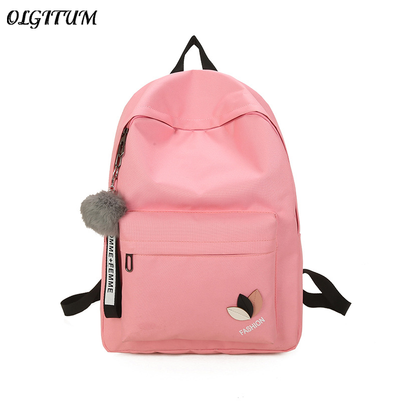 Hot 2019 Simple Travel Bag Fashion Cute Pink School Bag For Teen Girls Hairball Design Female Rucksack Big Space Canvas Backpack