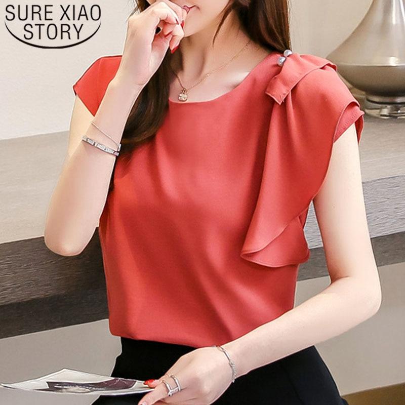 Fashion women tops and   blouse   2019 ladies tops chiffon   blouse     shirt   women   shirts   short plus size Batwing Sleeve   shirts   4309 50