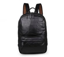 Maxdo Black Color Genuine Leather Unisex Men Backpacks Cowhide Women Backpack #M7273