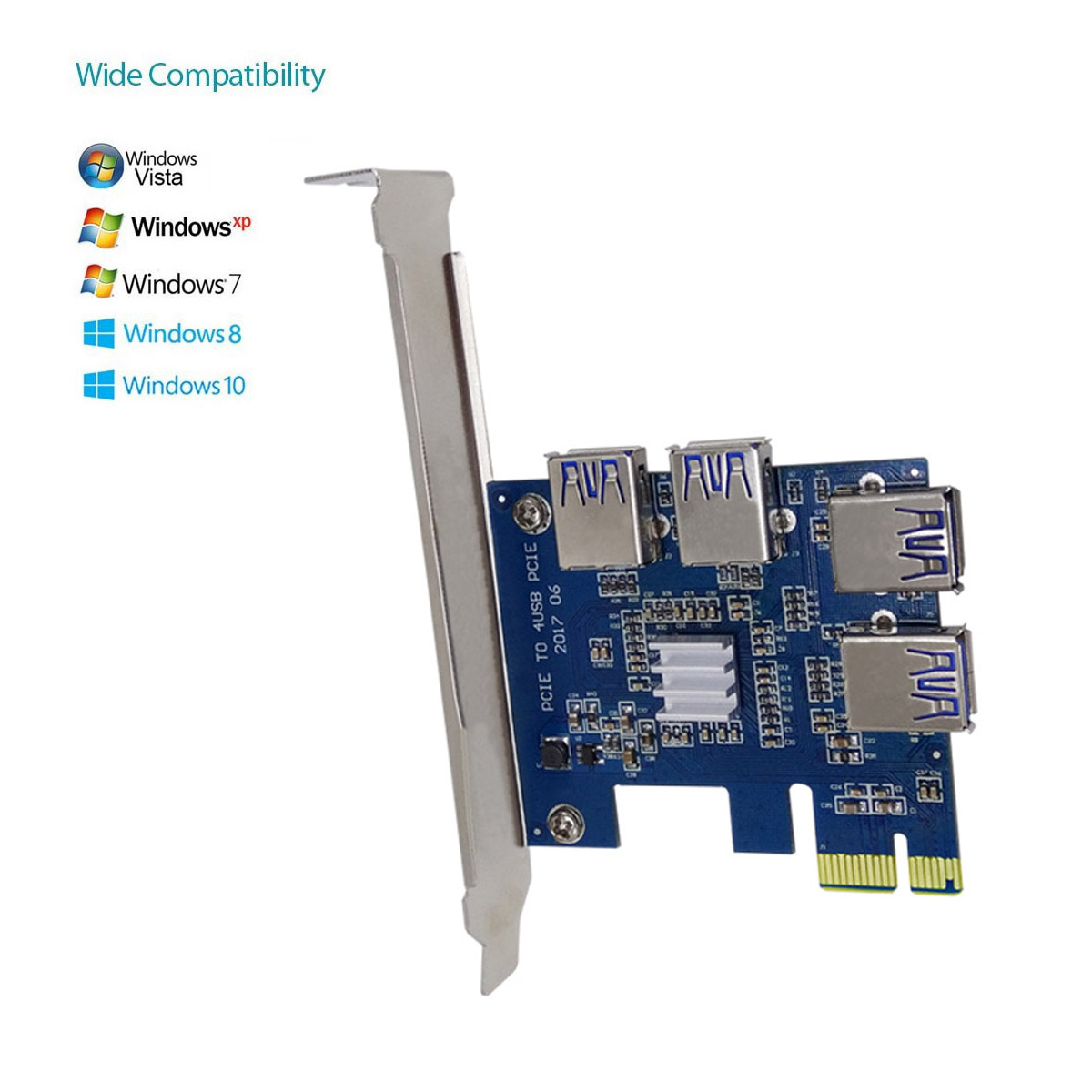 PCI Expansion Card To 4 Ports USB 3.0 Converter Adatper PCIE Riser Cards For Bitcoin Mining Device XXM8