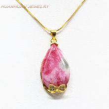 16x30mm Stone Pendant For Women Natural Jades Waterdrop Chalcedony Gold-Color Stainless Steel Chain Necklace & Pendants B3337(China)