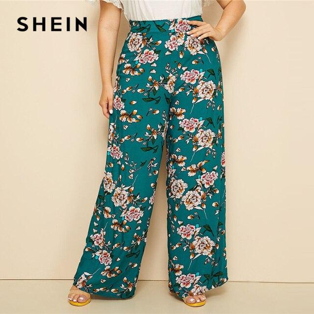 SHEIN Plus Size Green High Waist Floral Print Wide Leg Pants 2019 Women Summer Boho Casual Long Loose Plus Trousers Pants
