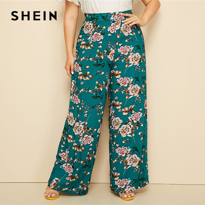 SHEIN Plus Size Green High Waist Floral Print   Wide     Leg     Pants   2019 Women Summer Boho Casual Long Loose Plus Trousers   Pants