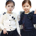 Korean Edition Bow Spring 2017 Baby Girls Children Wear Children Cardigan Coat Long Sleeved Jacket Beautiful Princess Sweater 3t