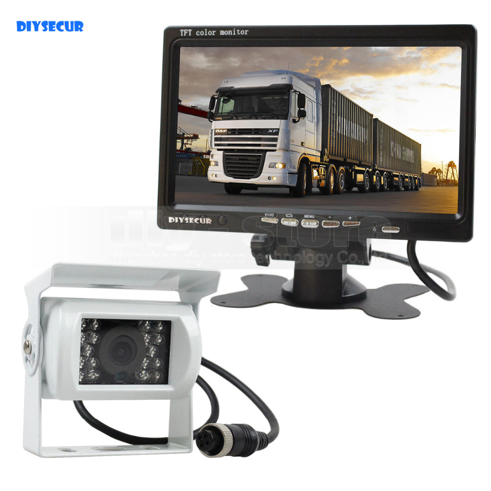 DIYSECUR DC 12V 24V 7 inch TFT LCD Car Monitor White 4pin IR Night Vision CCD