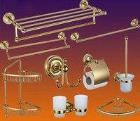 Роскошный Античный Золотой латунный полированный набор аксессуаров для ванной комнаты, держатель туалетной бумаги держатель рулона бумаг