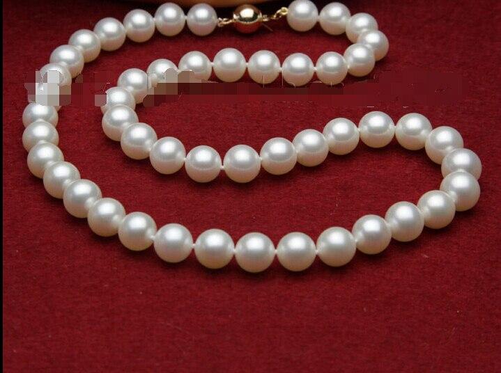 Livraison gratuite > > > > > 2016 s170 meilleure qualité AAA + 9 - 10 mm blanc d'eau douce mère de collier de perles 17