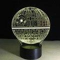 Star Wars Death star 3D de Mesa Interruptor de Toque Luz CONDUZIDA Da Noite lâmpada USB 7 Cor Decoração do Quarto Colorido CONDUZIU a Iluminação para o Presente IY803327