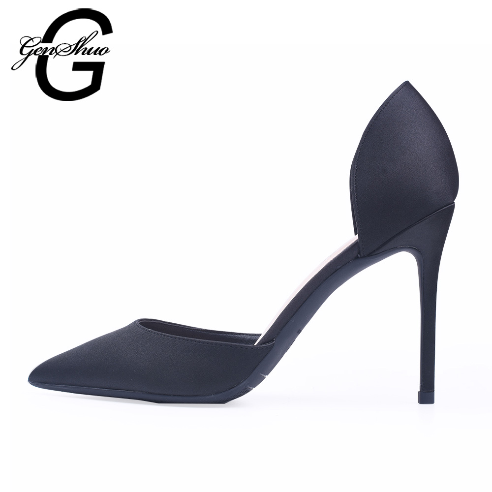 GENSHUO Women Pumps Satin High Heels Women Pumps Black Stiletto Glitter High Heel Shoes Woman Sexy Wedding Party Shoes Plus Size aiweiyi women high heels prom wedding shoes ladies gold silver glitter rhinestone bridal shoes stiletto high heel party pumps