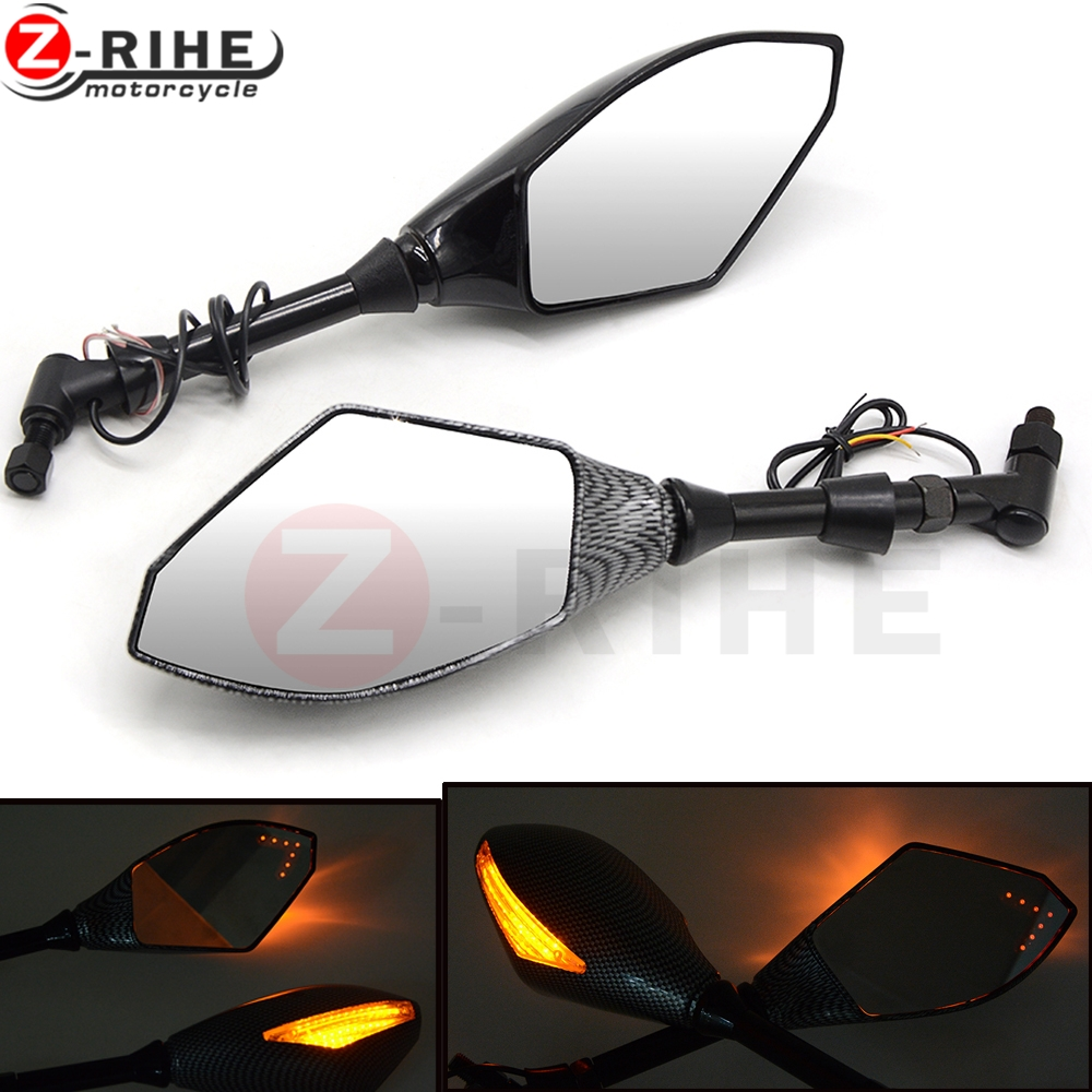 8mm 10mm motorcycle LED backlight mirror mirrors for yamaha mt09 mt10 mt07 Tmax 500 Tmax 530 KTM RC 125 200 690 Duke R 990 SM R