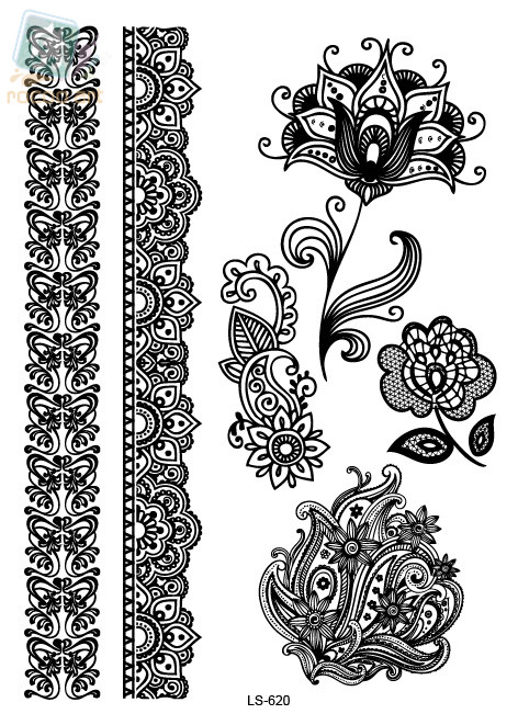 2a38e20d6 LS620e/New Lace White Henna Tattoo Sticker Totem Butterfly Mandala  Temporary Tattoo Body Art for Women Tatuagem-in Temporary Tattoos from  Beauty & Health on ...