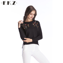 FKZ Fashion Women Sweaters 2017 New Runway O-neck Knitted Pullovers Full Sleeve Blouse Shirts Female Tops Floral Embroidery 6303