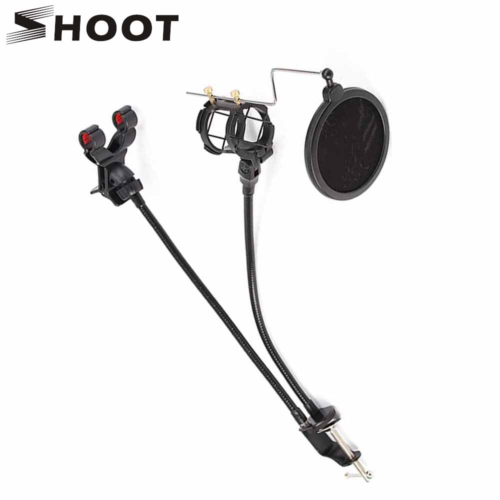 SHOOT Professional Pop Filter 360 Degree Adjustment Phone Microphone Mount Stand For Broadcast Karaoke Bracket Mic Holder Kits