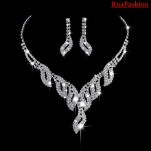 RNAFASHION Wedding Bridal Jewelry Sets For Women Parure Bijoux Femme Necklace Brinco Jewellery Costume Silver Plated
