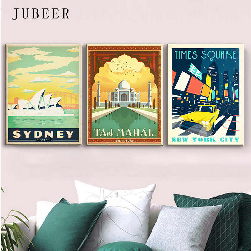 Retro Poster Vintage Travel Posters Cityscape New York Sydney Canvas Painting Wall Pictures For Living Room Decoration Maison
