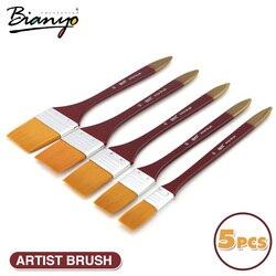 Bianyo 5Pcs Paint Brushes Acrylic DIY Graffiti Brush Set For Artist Oil Scrubbing Brush School Drawing Paint Stationery Supplies