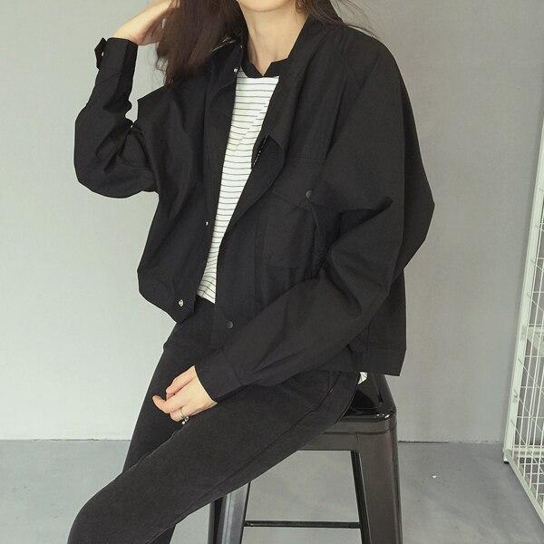 Vintage Boyfriend Women Jackets Black White Retro Oversize Bomber
