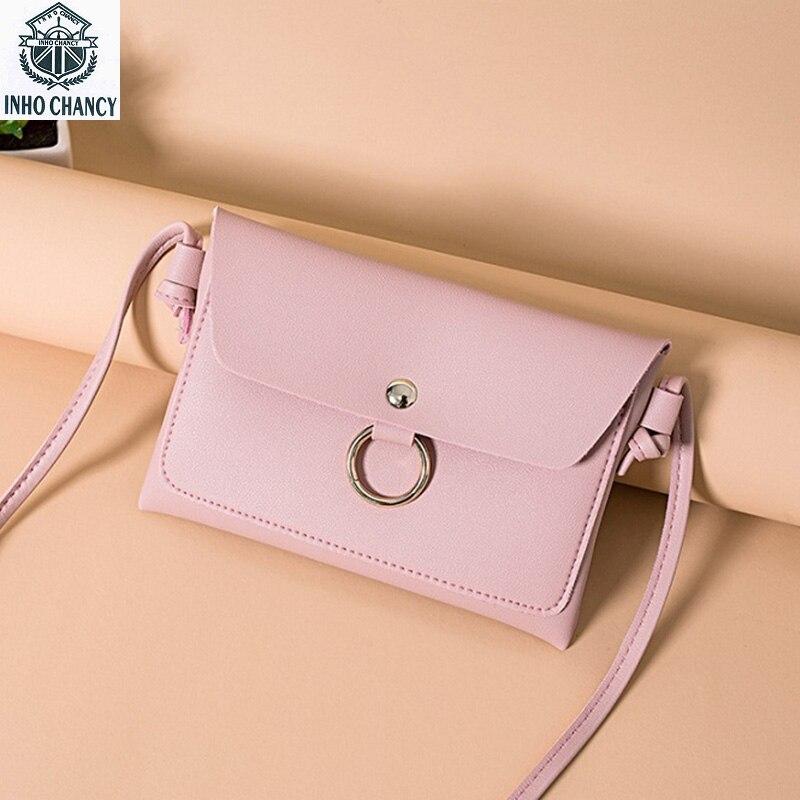 Inho рискованным из мягкой искусственной кожи Для женщин сумка модные однотонные мини сумка кольцо небольших мобильных Сумка Bolsa feminina