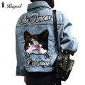 Mulheres outono vintage dos desenhos animados cat bordado jaqueta jeans lapela manga comprida single-breasted moda casaco básico veste en jean