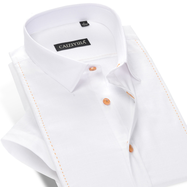 Fashion Men White Dress Shirt Short Sleeve 100% Cotton Famous Brand Boys Male Formal Business Slim Fit Casual Shirt Summer Style